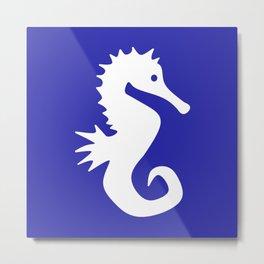 Seahorse (White & Navy Blue) Metal Print