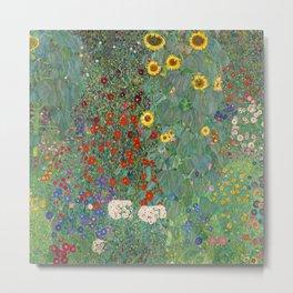 Farm Garden with Sunflowers - Gustav Klimt Metal Print