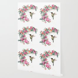 Hummingbird and Flowers Watercolor Animals Wallpaper
