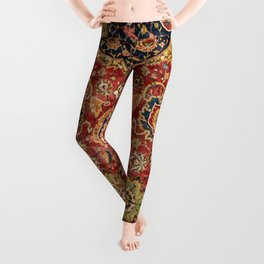 Indian Boho II // 16th Century Distressed Red Green Blue Flowery Colorful Ornate Rug Pattern Leggings