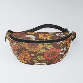 70s retro ditzy flowers, boho, browns, orange, hippie Fanny Pack