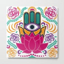 Hamsa Lotus Flower Spiritual Metal Print