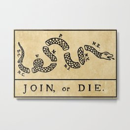 """1776 """"Join, or Die"""" Revolutionary War flag with 13 colonies, snake & no colors by Benjamin Franklin Metal Print"""