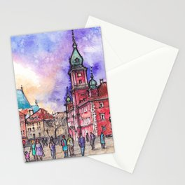Warsaw ink and watercolor illustration Stationery Cards