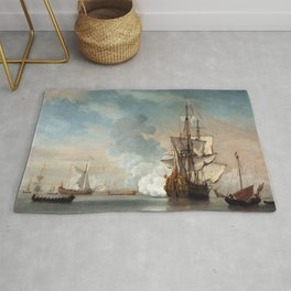 Willem van de Velde the Younger - English Warship Firing a Salute Rug
