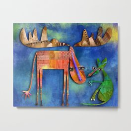 Moose and Mouse Metal Print