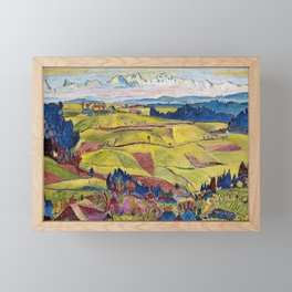 Chamonix Valley and Snow-capped French Alps landscape by Cuno Amiet Framed Mini Art Print