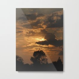 Sunset with Trees Metal Print