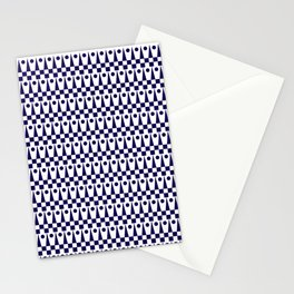 Geometric Pattern No.2 Midnight Blue on White Stationery Cards