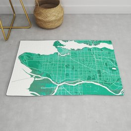 Vancouver City Map of Canada - Watercolor Rug