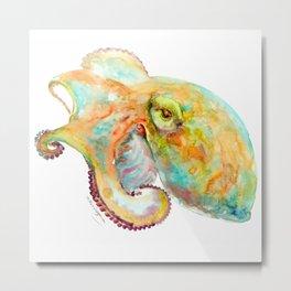 Turquoise-Orange Octopus Metal Print