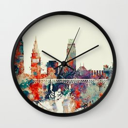 Cleveland City Skyline Wall Clock
