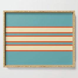 70s Style Blue Beige Orange Retro Stripes Radha Serving Tray