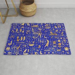 Ancient Egyptian hieroglyphs -Lapis Lazuli and Gold Rug