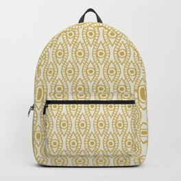 Vintage Golden Evil Eye Ogee Geometric Pattern, Hand-painted Eyes, Beautiful Oil Paint Texture on Light Beige Canvas Backpack