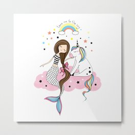 Mermaid & Unicorn White background Metal Print