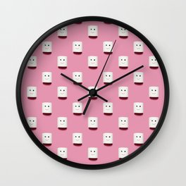 Happy smiling toilet paper pattern on pink Wall Clock