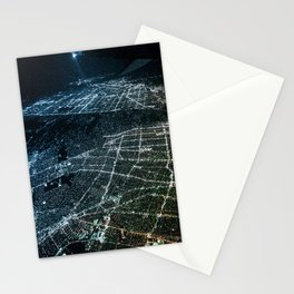 Night Flight out of Los Angeles Blue Stationery Cards