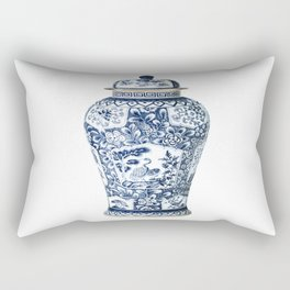 Blue & White Chinoiserie Cranes Porcelain Ginger Jar Rectangular Pillow