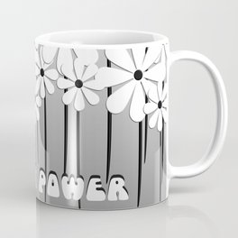 Flower Power in White Text and Daisies  Coffee Mug