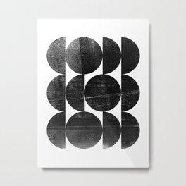 Black and White Mid Century Modern Op Art Metal Print