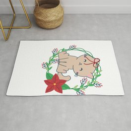 Tis The Season To Be Meowy Funny Christmas Cat design Rug
