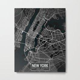 New York City Map of the United States - Dark Metal Print
