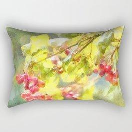 Winter Berries Watercolor Rectangular Pillow