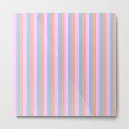 Orange Blue and Pink Pastel Cabana Stripes Metal Print