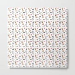 Dog and cat pattern Metal Print