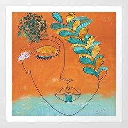 Monoline Woman Gilded Flowers Art Print