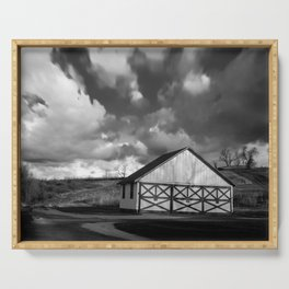 Aging Barn in the Morning Sun in Black and White Rural Landscape Photograph Serving Tray
