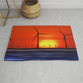 Wind Farms in the Sunset (Digital Art) Rug
