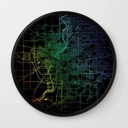 Rockford, IL, USA, City, Map, Rainbow, Map, Art, Print Wall Clock