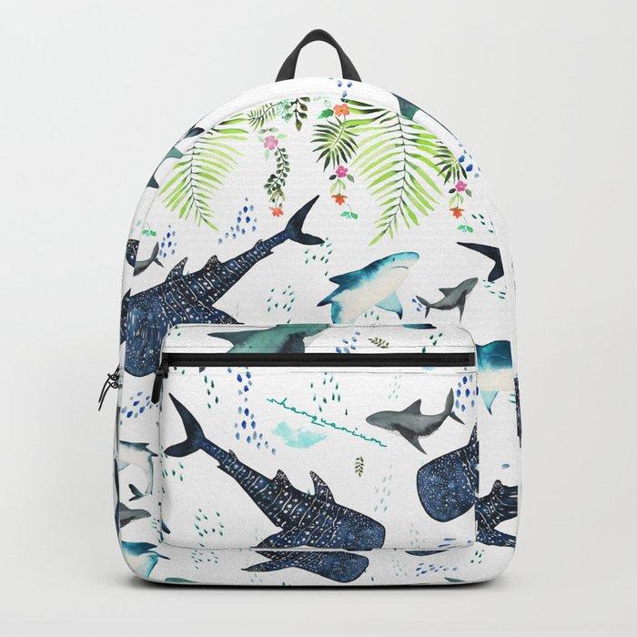 floral shark pattern Rucksack