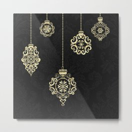 Decorative Rose Gold Geometry On Black Damask Metal Print