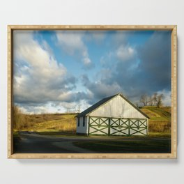 Aging Barn in the Morning Sun Rural Landscape Photograph Serving Tray