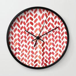 Cute watercolor knitting pattern - red Wall Clock