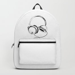 Headphones. Sketch style, black and white print. Backpack