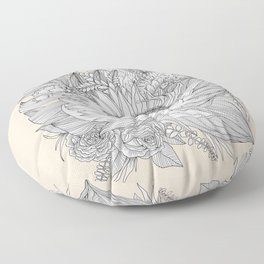 Protea Botanical Illustration Floor Pillow