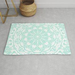 Mint Green and White Mandala Rug