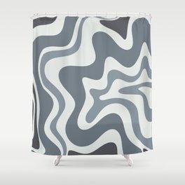 Liquid Swirl Abstract Pattern in Gray Monochrome  Shower Curtain