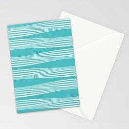 wavy stripes in aqua Stationery Cards