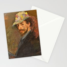 Self-portrait with flowered hat - James Sidney Edouard Baron Ensor Stationery Cards