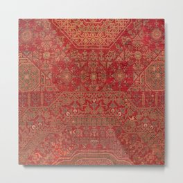Bohemian Medallion II // 15th Century Old Distressed Red Green Colorful Ornate Accent Rug Pattern Metal Print