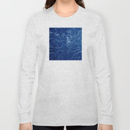 Cracks and Scratches on Midnight Blue Suede Leather Long Sleeve T-shirt