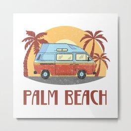 Palm Beach  TShirt Vintage Caravan Shirt Travel Road Gift Idea Metal Print