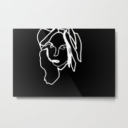 Negative Face Line Drawing Metal Print