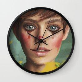 Harlequin. Fine-art Contemporary-art Digital-painting Yellow Teal Eyes Wall Clock