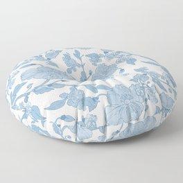 Modern White Blue Glitter Watercolor Floral Floor Pillow